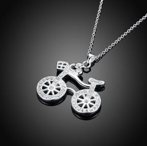 Jewelry - Pave Bicycle Necklace in 18K White Gold Filled